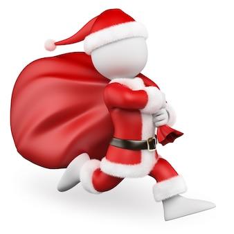 Weiße leute 3d. santa claus, die mit der großen tasche voll von den geschenken läuft