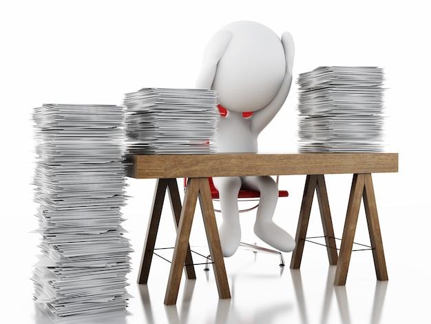 Weiße leute 3d überarbeitet mit stapel dokumenten.