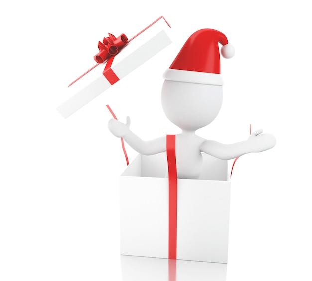 Weiße leute 3d weihnachtsmann mit geschenkbox.