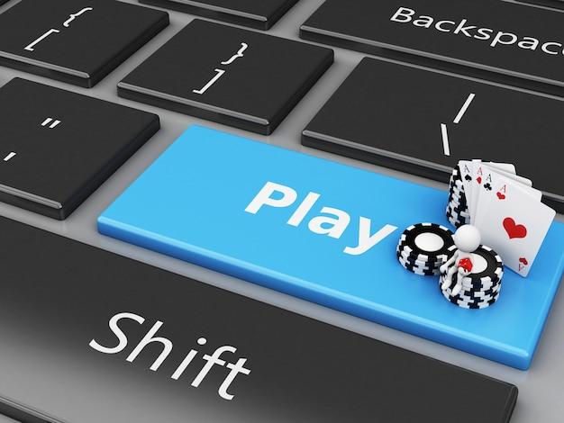 Weiße leute mit chips und karten auf der computertastatur