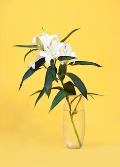 Weiße lilie in vase auf gelb