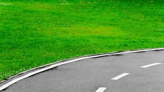 Weiße Linie auf Kurvenasphaltstraßenhintergrund
