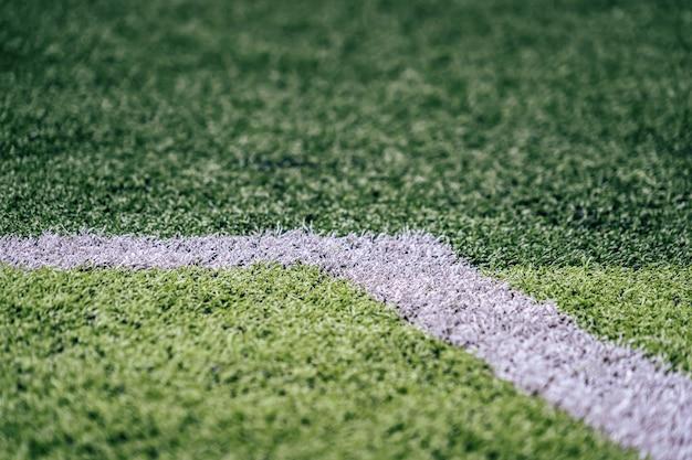 Weiße linie des fußball-fußballplatzes für hintergrund