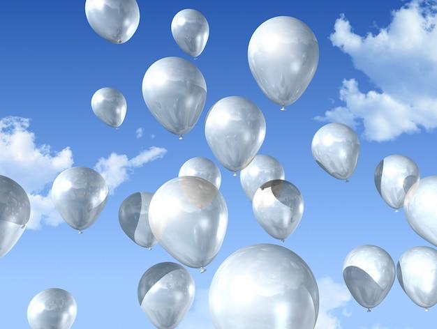 Weiße luftballons schweben auf einem blauen himmel