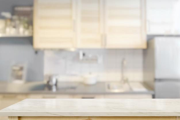 Weiße marmorcountertops mit modernem küchenraumhintergrund.