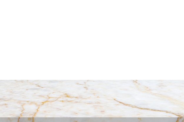 Weiße marmorstein-tischplatte lokalisiert auf weißem hintergrund für produktanzeige