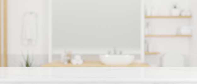 Weiße marmortischplatte mit mock-up-raum in modernem skandinavischen badezimmer-interieur 3d-rendering