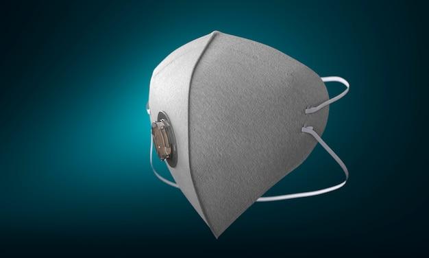 Weiße medizinische maske mit filter auf blauem hintergrund mit farbverlauf