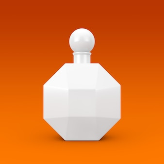 Weiße moderne parfume-flasche in form von diamanten auf orangefarbenem hintergrund. 3d-rendering