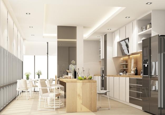 Weiße moderne zeitgenössische küche mit küchenausstattung und inselarbeitsplatte auf holzboden. 3d-rendering