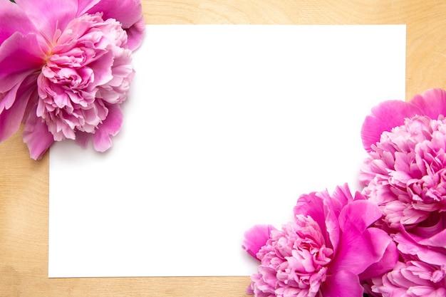 Weiße papierkarte mit pfingstrosen