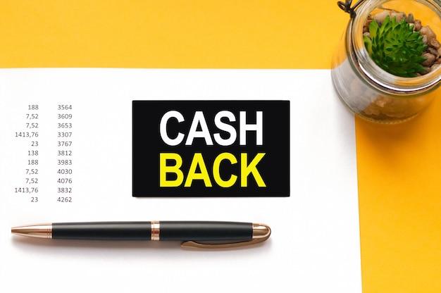 Weiße papierkarte mit text cash back blatt weißes papier für notizen, taschenrechner, sanduhr, gläser in der weißen wand. unternehmenskonzept.