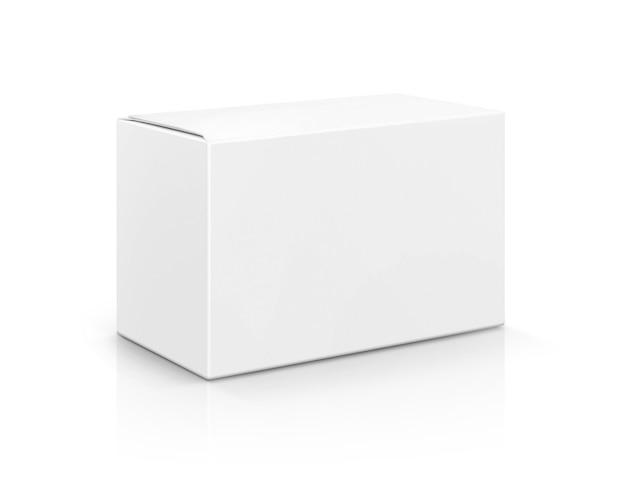 Weiße pappschachtel der leeren verpackung lokalisiert auf weißem hintergrund