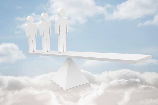 Weiße personalskalen in den wolken