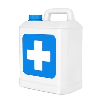 Weiße plastik-desinfektionsflasche mit blauem kreuz-label auf weißem hintergrund. 3d-rendering