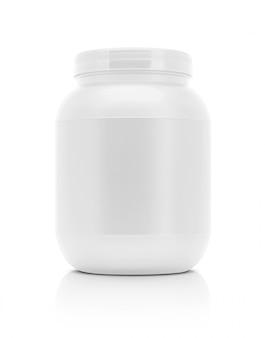 Weiße plastikflasche des leeren verpackungsergänzungsproduktes lokalisiert