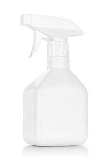 Weiße plastiksprühflasche lokalisiert auf weißem hintergrund