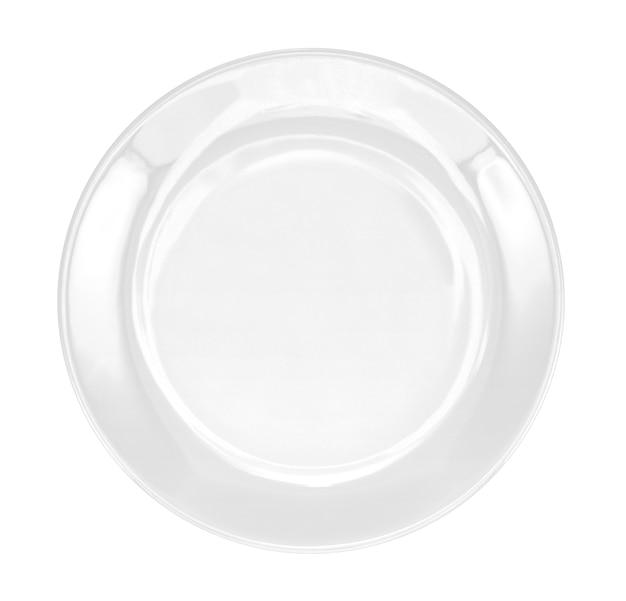 Weiße platte getrennt auf weiß
