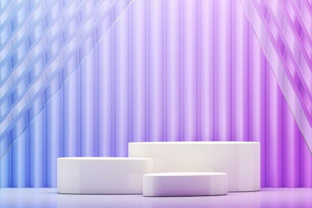 Weiße plattform mit drei auf einem blauen und violetten farbverlauf-zickzack-hintergrund