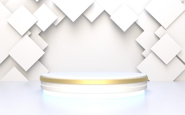 Weiße podium-produktanzeige mit geometrischem abstraktem hintergrund