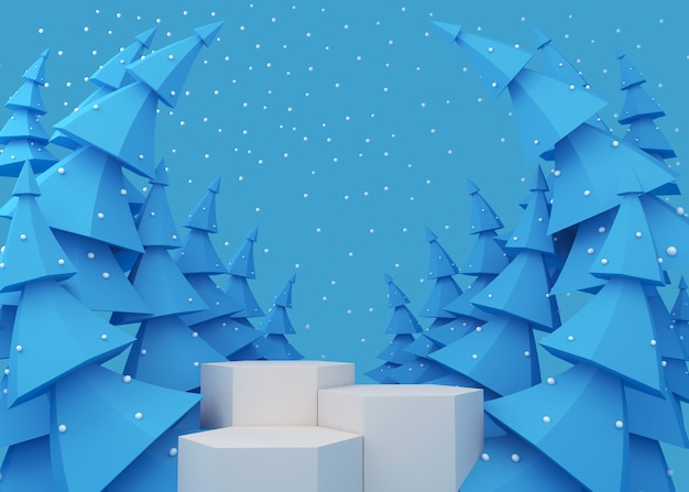 Weiße podiumanzeige für produktpräsentation, blaue weihnachtsbäume