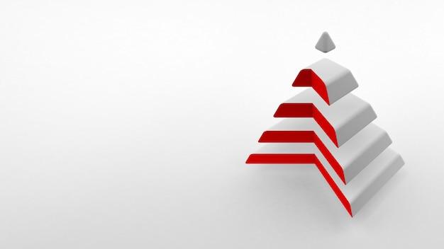 Weiße pyramide mit rotem hals, der aus gleichen horizontalen teilen besteht