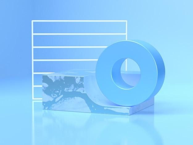 Weiße rahmen blaue kreisform abstrakte geometrische form 3d-rendering-szene