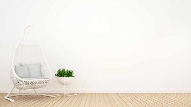 Weiße rattanwiege und -anlage entspannen herein sich raum - wiedergabe 3d