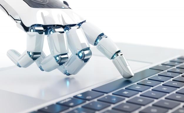 Weiße robotercyborghand, die eine tastatur auf einem laptop drückt