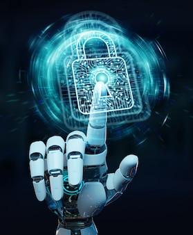 Weiße roboterhand, die digitale daten sichert