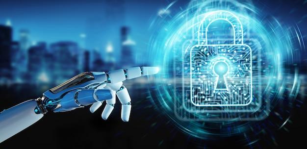 Weiße roboterhand, die digitale wiedergabe der daten 3d sichert