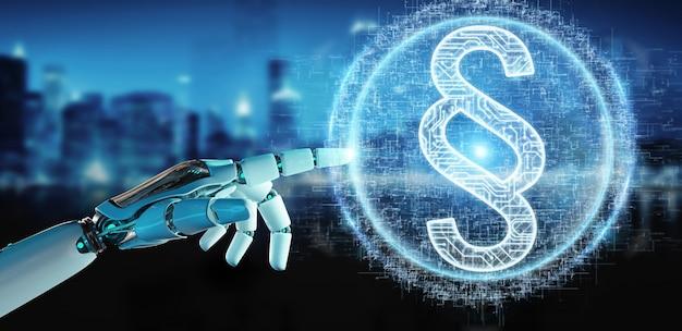 Weiße roboterhand unter verwendung der digitalen wiedergabe des hologramms 3d des gesetzesparagraphen