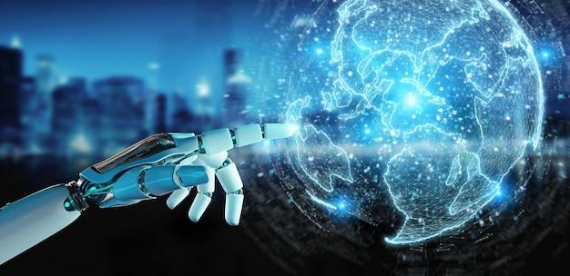 Weiße roboterhand unter verwendung des kugelnetzhologramms mit wiedergabe amerika-usa-karte 3d