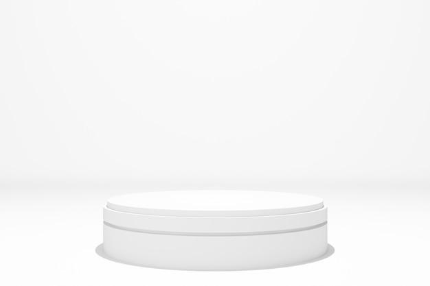 Weiße runde bühnenpodestanzeige für preisverleihung auf weißem hintergrund, 3d rendern.