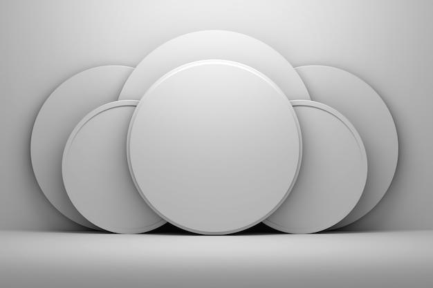 Weiße runde kreisformen mit leerer leerstelle