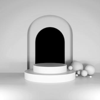 Weiße runde podeste vor dem hintergrund von bögen. 3d-rendering