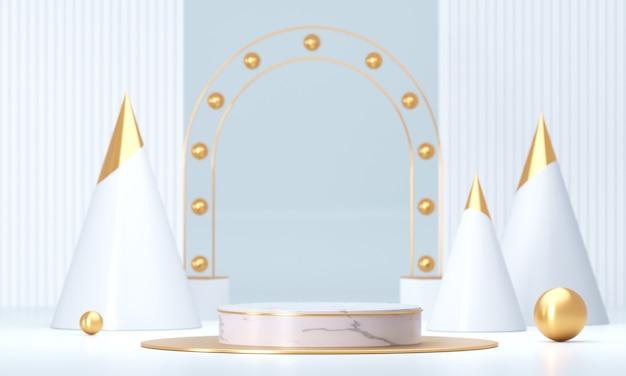 Weiße schablone produktstufe präsentieren hintergrund, leeres podium