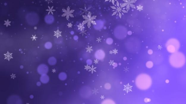 Weiße schneeflocken, sterne und abstrakte bokeh-partikel fallen. frohes neues jahr und frohe weihnachten glänzender hintergrund. luxuriöse und elegante 3d-darstellung im dynamischen stil für den winterurlaub