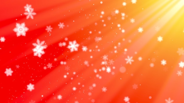 Weiße schneeflocken und abstrakte partikel fallen. frohes neues jahr und frohe weihnachten glänzender hintergrund. luxuriöse und elegante 3d-darstellung im dynamischen stil für den winterurlaub