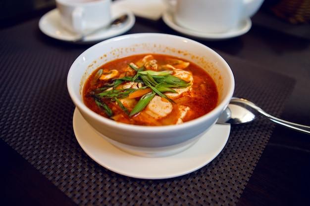 Weiße schüssel rote suppe, scheiben hühnchen und zwiebeln