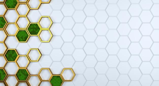 Weiße sechseckstruktur mit goldenen elementen und skandinavischem moos