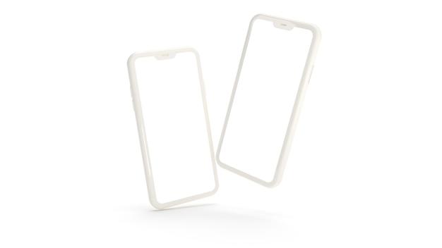 Weiße smartphones in realistischer 3d-telefonwiedergabe isoliert