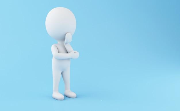 Weiße stehende und denkende leute 3d