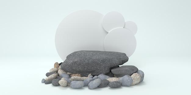 Weiße steine für die produktpräsentation