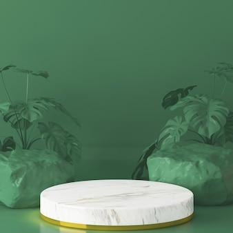 Weiße steinpodeste zur präsentation des produkts mit grün