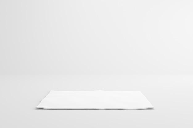 Weiße stoffbahn auf leerem studiohintergrund. leerer regalständer zum anzeigen des produkts. 3d-rendering.