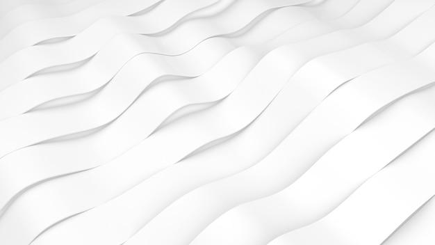 Weiße streifen wellen oberfläche. verformte bänder oberfläche mit weichem licht. moderner heller hintergrund