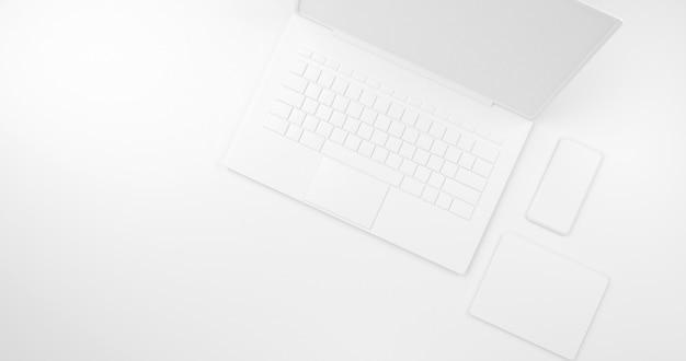 Weiße szene abstrakte laptop und smartphone 3d-rendering-technologie konzept.3d rendering,