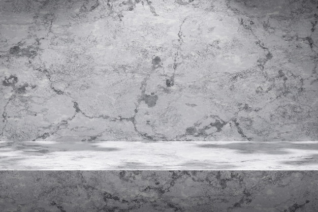 Weiße szenenhintergründe und marmorproduktanzeige auf grauem hintergrund mit sonnigem lichtstudio. leerer sockel oder podestplatz. 3d-rendering.