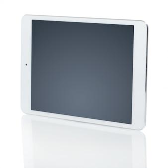 Weiße tablette mit schwarzem bildschirm